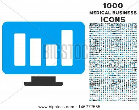 Bar Chart Monitoring vector bicolor icon with 1000 medical business icons. Set style is flat pictograms blue and gray colors white background.