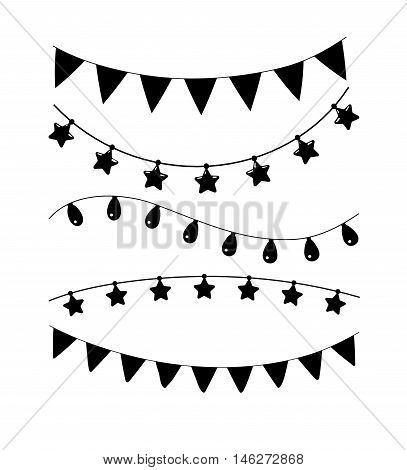 Black and white birthday and party vector decoration. Garland set