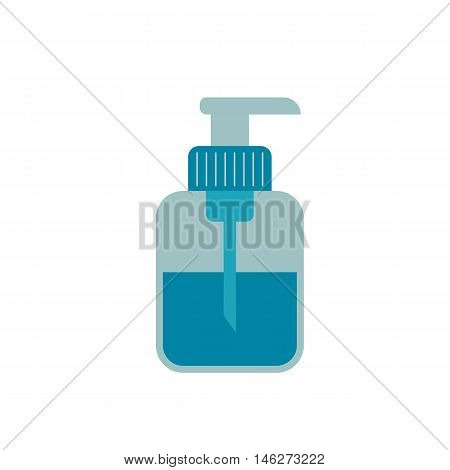Bottle of soap flat icon. Vector bottle of soap silhouette illustration. Concept shampoo icon. Colorful bottle of soap for your design. Flat cartoon shampoo isolated.