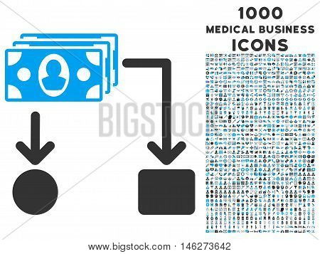 Cashflow vector bicolor icon with 1000 medical business icons. Set style is flat pictograms blue and gray colors white background.