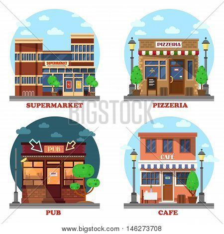 Pub and supermarket, pizzeria and cafe buildings. Business shop's facade on street with menu and lights. Local outdoor cityscape houses. Can be used for commerce construction and exterior themes. eps 10