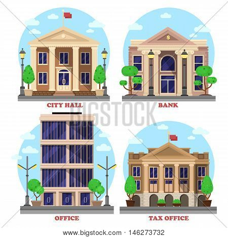 Bank with dollar currency sign and skyscraper office, national city hall with flag and tax revenue building or house with bushes and trees. Municipal city, government constructions facade exteriors. eps 10