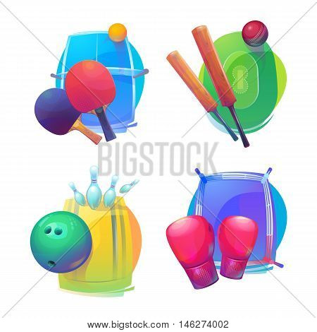 Tennis and cricket, bowling and boxing equipment icons or logo. Tennis and cricket, bowling and boxing sport equipment or gear.