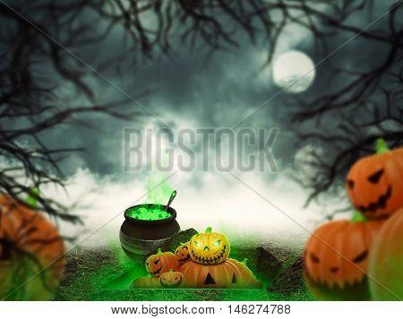 Helloween pumpkins in the forest