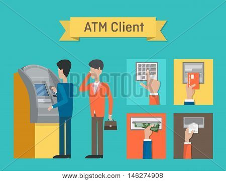 ATM or automated teller or cash machine clients. Cashline or cashpoint, bankomat or minibank used by people who using dollar cash or plastic credit cards for financial transactions at interbank network