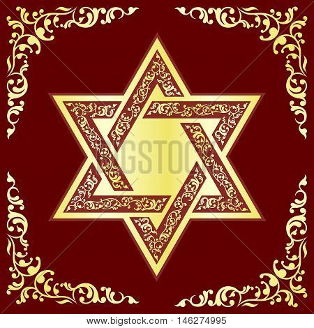 Vector hexagonal Star of David with gold oriental ornament on burgundy background.