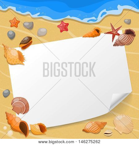 Shells and sea stars composition a sheet of paper on the beach with seashells vector illustration