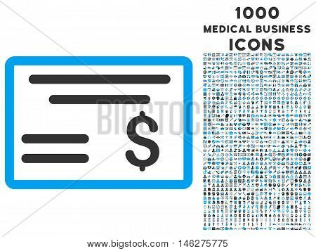 Dollar Cheque vector bicolor icon with 1000 medical business icons. Set style is flat pictograms blue and gray colors white background.