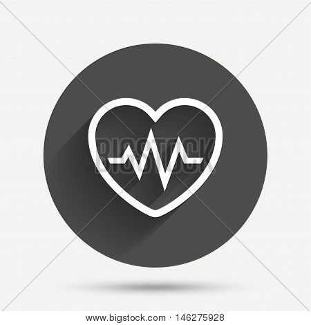 Heartbeat sign icon. Cardiogram symbol. Circle flat button with shadow. Vector