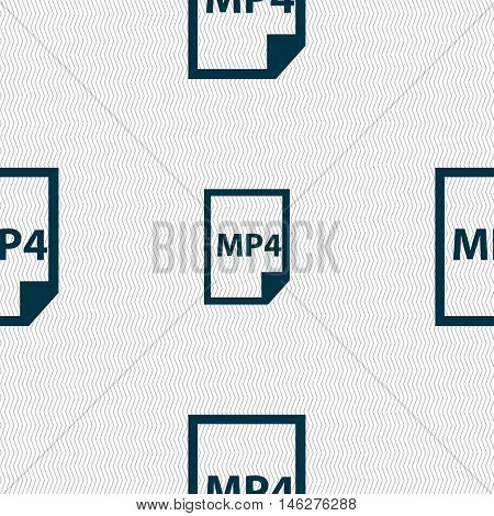 Mp4 Icon Sign. Seamless Pattern With Geometric Texture. Vector