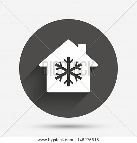 Air conditioning indoors icon. Snowflake sign. Circle flat button with shadow. Vector