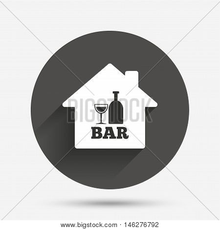 Bar or Pub sign icon. Wine bottle and Glass symbol. Alcohol drink symbol. Circle flat button with shadow. Vector