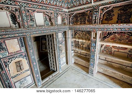 JAISALMER, INDIA - MAR 1, 2015: Interior of the old rooms of historical mansion Patwon Ki Haveli on March 1, 2015. Jaisalmer lies in the heart of the Thar Desert and has a population of about 78000.