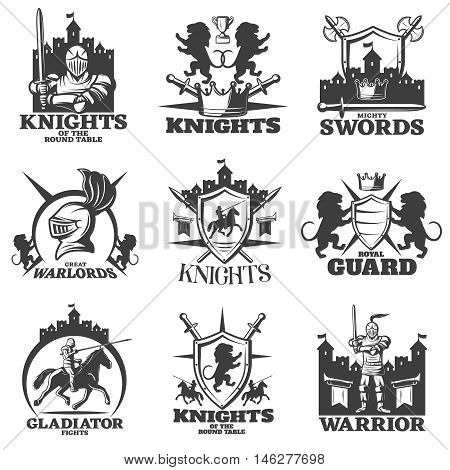 Knights black white emblems with heraldic lions crossed weapon horseman and armed fighter isolated vector illustration