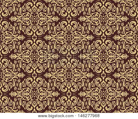 Seamless golden baroque vector pattern. Traditional classic orient ornament