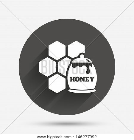 Honey in pot and honeycomb sign icon. Honey cells symbol. Sweet natural food. Circle flat button with shadow. Vector