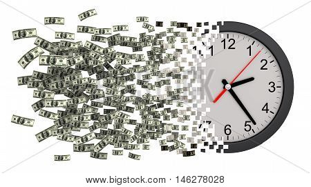 Time Is Money. Clock Falling Apart To Dollars. 3D Illustration.
