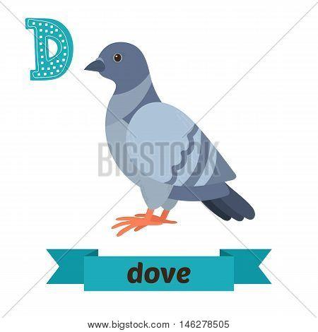 Dove. D Letter. Cute Children Animal Alphabet In Vector. Funny Cartoon Animals