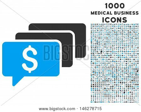 Money Messages vector bicolor icon with 1000 medical business icons. Set style is flat pictograms blue and gray colors white background.