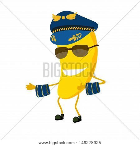 The banana pilot cartoon characters with a cap. The pilot of a plane dressed in uniform and glasses. On the cap is a sign of the wings of yellow color. vector