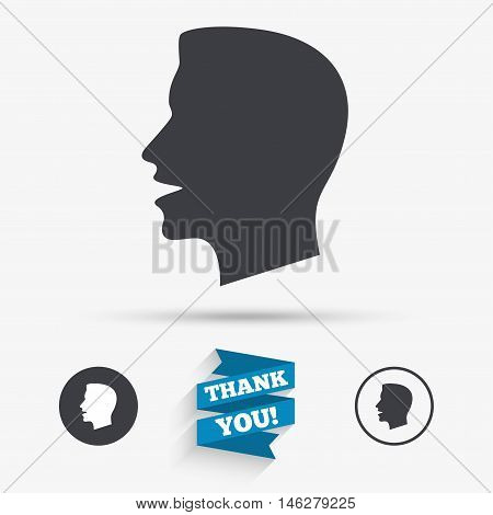 Talk or speak icon. Loud noise symbol. Human talking sign. Flat icons. Buttons with icons. Thank you ribbon. Vector