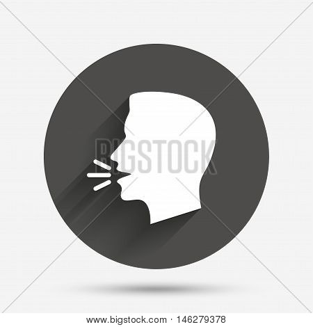 Talk or speak icon. Loud noise symbol. Human talking sign. Circle flat button with shadow. Vector