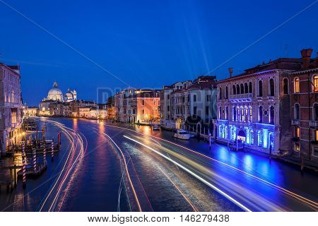 The Grand Canal from  Academia bridge at the blue hour, Venice, Italy