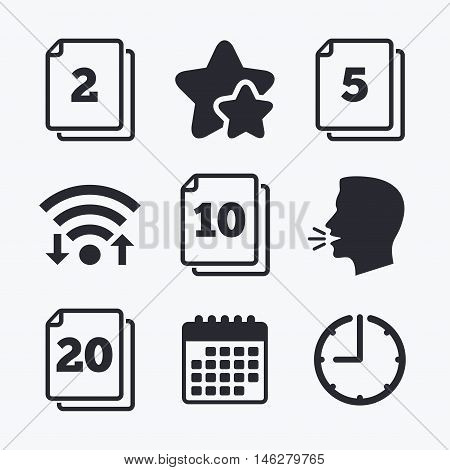 In pack sheets icons. Quantity per package symbols. 2, 5, 10 and 20 paper units in the pack signs. Wifi internet, favorite stars, calendar and clock. Talking head. Vector
