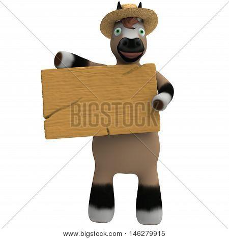 Cavalo com chapéu de palha segurando uma placa de madeira.