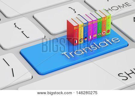 Translate concept on blue keyboard 3D rendering