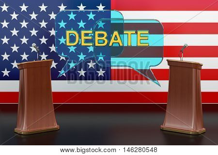 USA american presidential debate concept with microphones and tribunes 3D rendering isolated on white background
