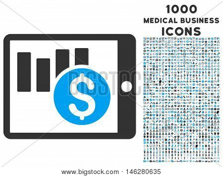Sales Chart on Pda vector bicolor icon with 1000 medical business icons. Set style is flat pictograms blue and gray colors white background.