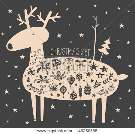 Vector illustration of hand drawn cute deer with stars and christmas icons set. Bells, sleigh bells, bows, stars, oak and fir branches, ribbons, pinecones, Christmas balls, acorns. Black background.