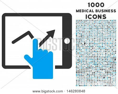Tap Trend on Pda vector bicolor icon with 1000 medical business icons. Set style is flat pictograms blue and gray colors white background.