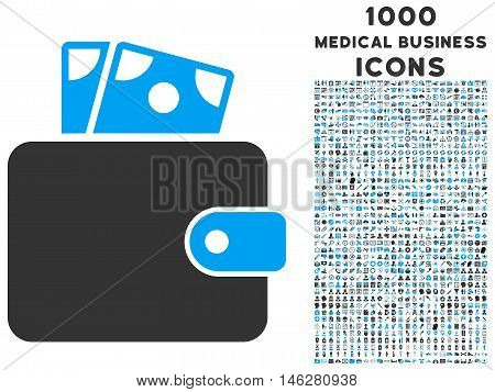 Wallet vector bicolor icon with 1000 medical business icons. Set style is flat pictograms blue and gray colors white background.