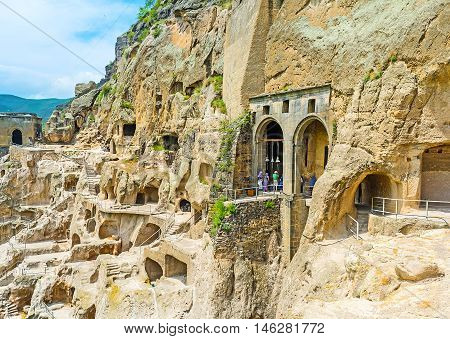 The archaeological site of Vardzia located on the of Erusheti Mount and consists of the multilevel maze of indented caves with the Dormition Church in the middle Samtskhe-Javakheti Region Georgia.