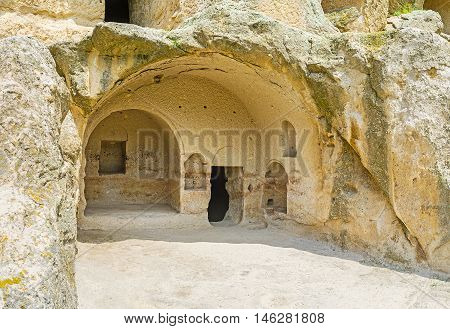 The indented caves in Vardzia archaeological site were used as shelters temples and warehouses in the Middle Ages Samtskhe-Javakheti Region Georgia.