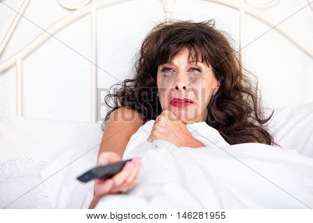 Woman Watching Sad Movie On Television