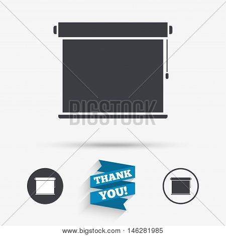 Louvers rolls sign icon. Window blinds or jalousie symbol. Flat icons. Buttons with icons. Thank you ribbon. Vector