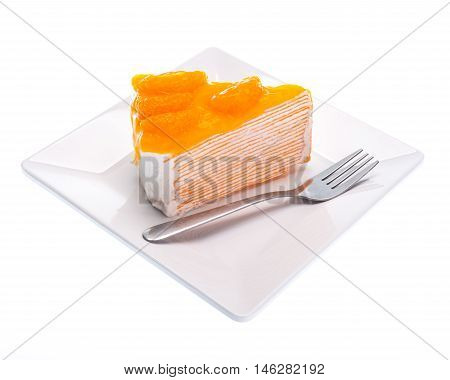Oranges cake slice fruit cake on white background.