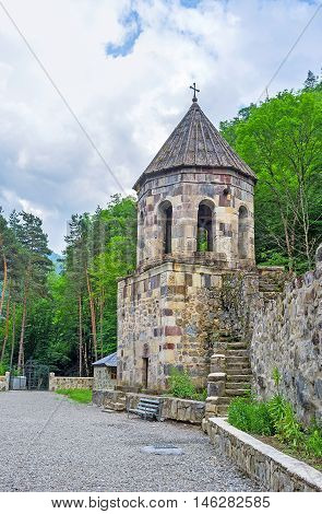 The old bell tower of the Chitakhevi St. George's Monastery also famous as the Green Monastery located in Borjomi valley Georgia.