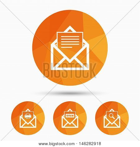 Mail envelope icons. Print message document symbol. Post office letter signs. Spam mails and search message icons. Triangular low poly buttons with shadow. Vector