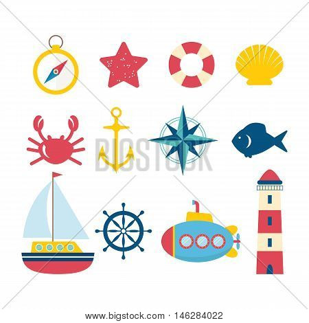 Nautical Design Elements In Flat Style. Collection Of Nautical Symbols