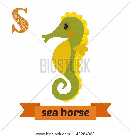 Sea Horse. S Letter. Cute Children Animal Alphabet In Vector. Funny Cartoon Animals