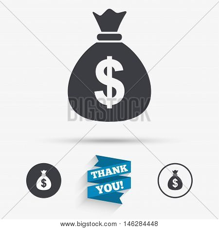 Money bag sign icon. Dollar USD currency symbol. Flat icons. Buttons with icons. Thank you ribbon. Vector