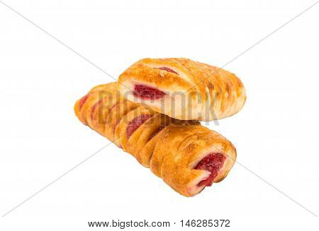 Puff pastry filled with jam food isolated.