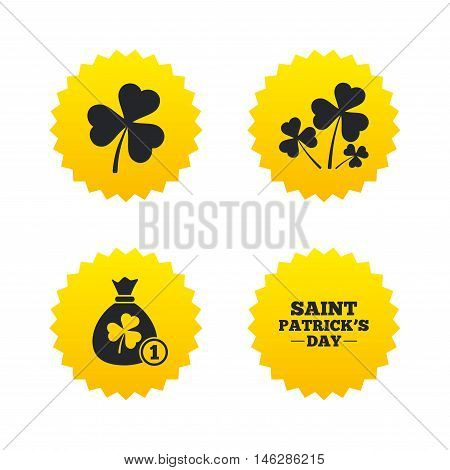 Saint Patrick day icons. Money bag with clover and coin sign. Trefoil shamrock clover. Symbol of good luck. Yellow stars labels with flat icons. Vector