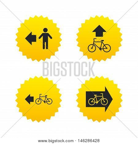 Pedestrian road icon. Bicycle path trail sign. Cycle path. Arrow symbol. Yellow stars labels with flat icons. Vector