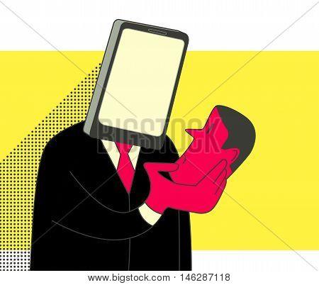 Smartphone head man holding human head. Social media addiction concept illustration.