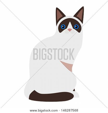 Siamese cat cartoon style vector silhouette. Cute domestic cat animal sitting. Cartoon siamese cat young adorable tail symbol playful. Cartoon funny domestic pussy kitty siamese cat sit character
